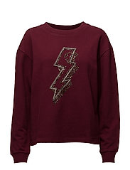 Bead detail sweatshirt - DARK RED