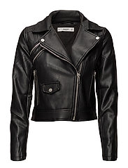 Lace up biker jacket - BLACK