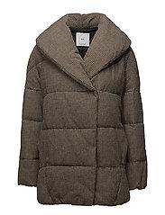 Houndstooth wool-blend anorak
