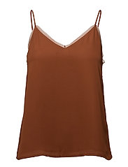 Sheer panel top - DARK BROWN