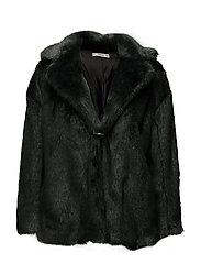Lapels faux fur coat - BRIGHT GREEN