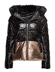 Metallic puffer jacket - BLACK