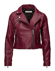 Appliqu biker jacket - DARK RED