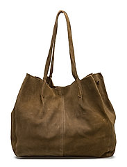 Leather shopper bag - BEIGE - KHAKI