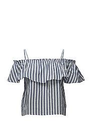 Ruffle striped top - MEDIUM BLUE