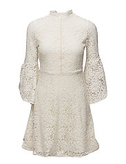 Flared sleeves guipur dress - NATURAL WHITE