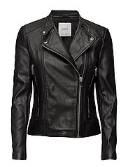 Zip leather jacket - BLACK