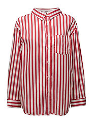 Oversize striped shirt - RED
