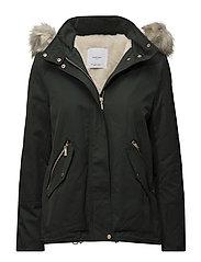 Furry hooded parka - BEIGE - KHAKI