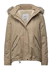 Furry hooded parka - LT PASTEL BROWN