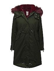 Contrast hooded parka - MEDIUM GREEN