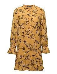 Ruffled printed dress - MEDIUM YELLOW
