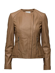 Leather jacket - MEDIUM BROWN