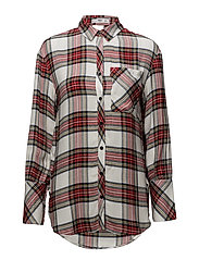 Oversize check shirt - RED