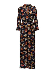 Printed wrap jumpsuit - NAVY