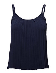 Pleated strap top - NAVY