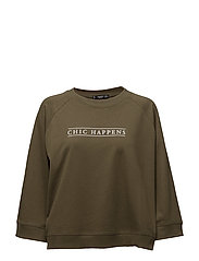 Cotton-blend message sweatshirt - BEIGE - KHAKI