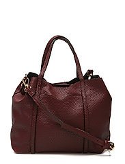 Pebbled cross-body bag - DARK RED