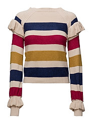 Striped cotton sweater - LIGHT BEIGE