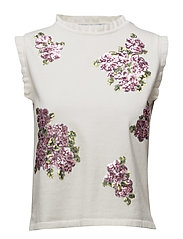 Sequin embroidery top - WHITE