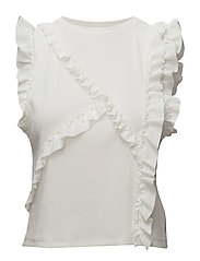 Textured ruffled blouse - NATURAL WHITE