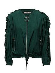 Ruffle flowy jacket - GREEN