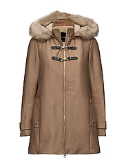 Furry hooded parka - MEDIUM BROWN