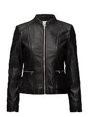 Pocket leather jacket - BLACK
