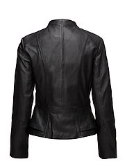 Pocket leather jacket - BLACK