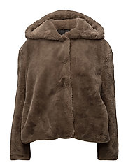 Faux fur hooded coat - MEDIUM BROWN