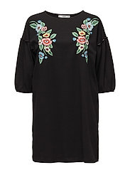 Floral embroidery dress - BLACK