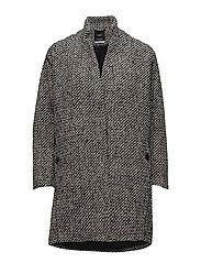 Herringbone pattern wool coat - BLACK