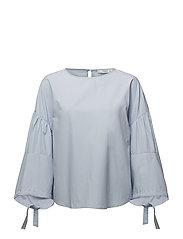 Puffed sleeves blouse - LT-PASTEL BLUE