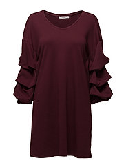 Puffed sleeves dress - DARK RED