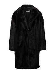 Lapels faux fur coat - BLACK