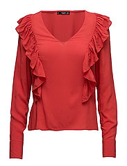 Ruffled panel blouse - RED