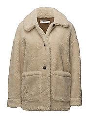 Faux shearling-lined coat - LIGHT BEIGE