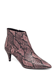 Snake-effect ankle boots - PINK