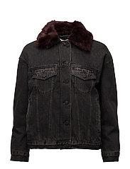 Faux fur neck denim jacket - OPEN GREY