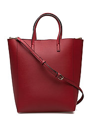 Saffiano-effect shopper bag - RED