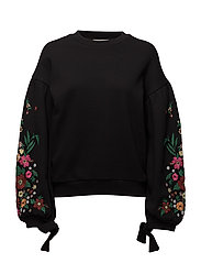 Floral embroidered sweatshirt - BLACK
