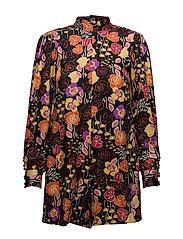 Floral short jumpsuit - BLACK