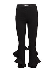 Ruffle flared trousers - BLACK