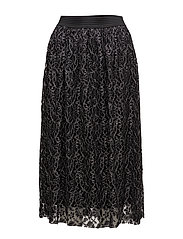 Metal thread lace skirt - BLACK