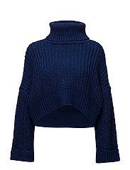 Turtle neck oversize sweater - MEDIUM BLUE