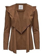 Waterfall faux suede jacket - MEDIUM BROWN