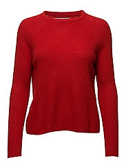 Ribbed knit sweater - RED