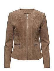 Flap-pocket suede jacket - MEDIUM BROWN