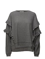 Ruffled detail sweater - LT PASTEL GREY