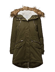 Furry hooded parka - BEIGE - KHAKI